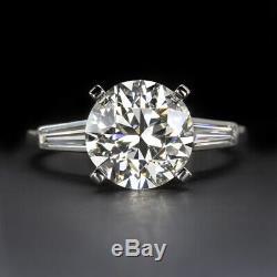 Bague De Fiançailles En Diamants Taille Ancienne, Certifiée Hvs2, Vintage European