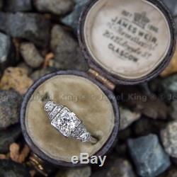 Bague De Fiançailles En Or 14k À Diamants Vintage D'époque Art Deco Avec 0.53 Ct De Diamant