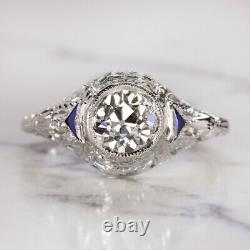 Bague De Fiançailles Gia Certified H Vs2 Vintage Diamond 18k Old European Cut Antique