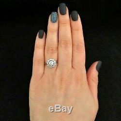 Bague Halo Vintage Vintage European Diamond Avec Diamants Taillés En Platine