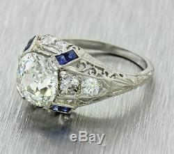 Bague Saphir Avec Diamants Gia, Ancienne Mine Des Années 1920, Style Art Déco, 2.08ctw