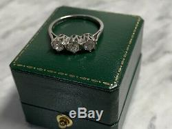 Bague Trilogie Ancienne À Diamants Taille Ancienne, 0,75 Ct, Taille Vintage L / M