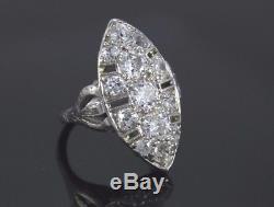 Bague Vintage Art Antique Vintage Platine Diamant Ancien Diamant De Taille De Bague 3.25