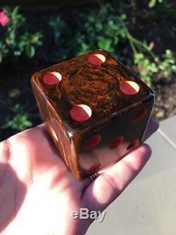 Bakélite XXL Gros Dés Rod Antique Vintage Old Big Brown Marble Catalin Jumbo