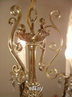 Baroque Lustre Argent Cristal Lampe Vintage Antique 12 Light