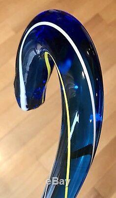 Bâton De Canne De Marche Vintage Antique En Verre Soufflé À La Main Bleu Cobalt 36l