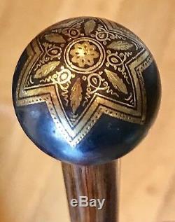Bâton De Canne Vintage Antique 19c Toledo 24k Pertridge En Bois Doré Vieux