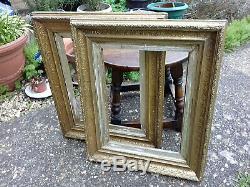 Belle Paire Vintage Antique Gilt Gold Leaf Old Worn Cadres Décoratifs Accueil