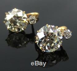 Boucles D'oreille En Or 18 Carats Anciennes Avec Diamants De 7,0 Ct, Mines Européennes Et Anciennes