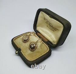 Boucles D'oreilles Anciennes Dorées 18kt Avec Diamants Anciens Coupés Et Émail Avec Boîte