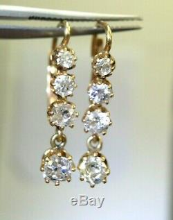 Boucles D'oreilles Antiques À Diamants Taille Ancienne En Or Jaune 18k
