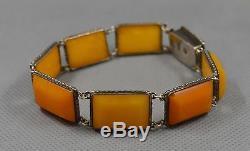 Bracelet Ancien Vintage En Argent Ambré Naturel Baltique Avec Des Jaunes D'oeufs Au Beurre