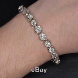 Bracelet De Tennis Vintage En Platine Avec Diamants Taille Ancienne, 25 Carats