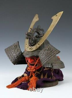 Casque Samouraï Noir Japonais Old Vintage -genji Dragon Kabuto