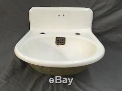 Cast Antique Fer Blanc Porcelaine Ornement Évier Salle De Bains Vieux Vtg Fixture 598-17e