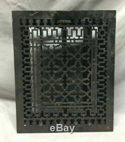 Cast Iron Gothic Antique Heat Râper Registre De Plancher 12x15 Vintage Old 170-19c