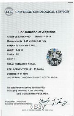 Certified 0.82ct Vieux Mine Cut Diamond I Si2 Les Yeux Clean Anciennes Européenne