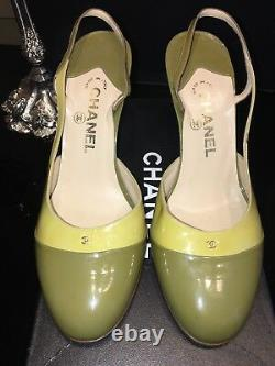 Chanel Vintage Slingback Patent Pump, Taille Old Euro 39 1/2, Us 8.5m Lime/olive