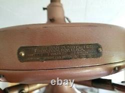 Chasseur De Cuivre Vieux De 100 Ans C17 Ancien Plafond Électrique Ventilateur-vintage-rustique Cabine