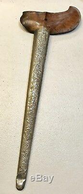Couteau D'épée Kris Arabe 1800 D'époque 1800 Avec Manche En Bois Withscabbard