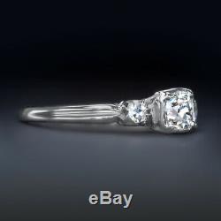 Cru H Si1 Ancienne Mine Cut Diamond 18k White Gold Engagement Ring Antique 0.5ct
