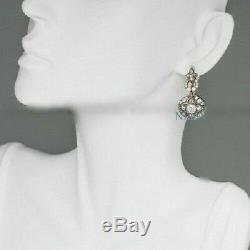 Diamant Taille Ancienne, 2 Ct, Boucles D'oreilles Pendentifs Vintage Art Déco, Or Blanc 14k