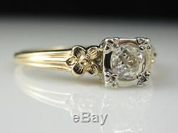Diamant Vintage Bague De Fiançailles Vieux Cut Européen 14k Antique Domaine À Deux Tons