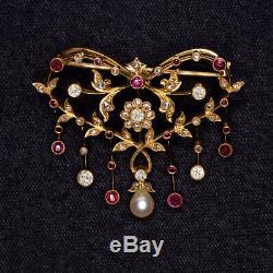 Edwardian Old Diamond Cut Birmanie Ruby Pin Pearl Pendentif Vintage Antique Collier