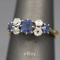 Edwardian Platinum Et 18k Sapphire Et Ancienne Mine Cut Diamond Ring