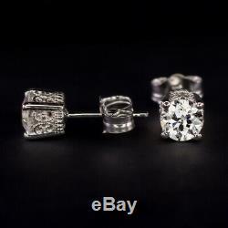 F-g Vs Vieux Cut Européen De Diamant Dormeuses 0.85c Anciennes Filigree 1ct