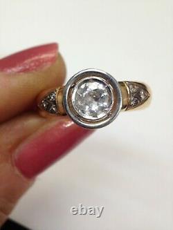 Fabuleux Ensemble De Lunette En Or Antique De 18k. 60ct Old Mine Cut Diamond Ring Taille 6