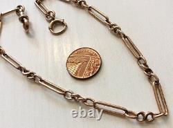 Fabuleux Vieux Antique Solid 9 Carat Rose Or Albert Ou Ladies Double Bracelet