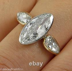 Gia 2.55ct Antique Vintage Old Marquise Diamond Bague De Fiançailles 18k Yg