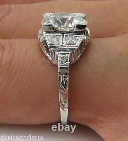 Gia 3.05ct Antique Vintage Deco Old Euro Diamond Fiançailles Bague De Mariage Plat