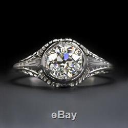Gia Certified. 92ct Vieux Cut Europeen Bague De Fiançailles Diamant 18k Anciennes