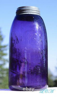Gigantic Deep Purple Half Gallon Antique Mason 1858 Bocal À Fruits Brevets Old Clean