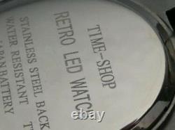 Gold 1970s Vieux-vintage Style Vintage Led LCD Rare Rare Rare Mens Montre 12 24 Heures Om