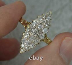 Grand Anneau Victorien 18ct Or Et 0,85ct Vieille Coupe De Navette Diamant