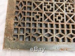 Grand Cast Antique Fer D'air Froid Retour Vent Couverture Vtg Old Grill 29x21 697-17e