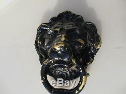 Grand Heurtoir De Porte Lion Vintage En Laiton Lions Ancien Manoir Ancien Porte De Porte 8w