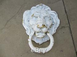 Grand Laiton Vintage Lion Heurtoir Lions Antique Old Mansion Manor Porte 8w