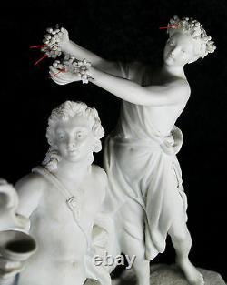 Grande Antique Sevres Bisque Porcelaine Sculpture Groupe Dionisius 19ème Siècle Vieux