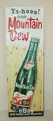 Grande Bouteille De Signes Vintage En Relief De Style Vintage Hillbilly Mountain Dew De 42 '' X 14