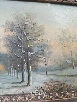Huile Antique Vieux Allemand Vintage Peinture De Paysage Scène Encadrée Art Woods