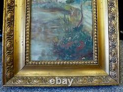Huile Britannique Antique Antique De Cru Encadrée D'or À Bord Du Paysage De Fleuve De Peinture