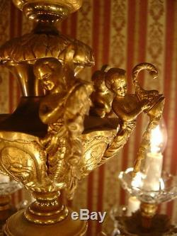Immense Rare 18 Lumière Lustre De Cristal En Laiton Vintage Lampe Antique Grand