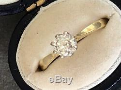 Incroyable 0.70-0.75 Bague Solitaire À Diamant De Taille Ancienne En Or Antique De 18 Carats