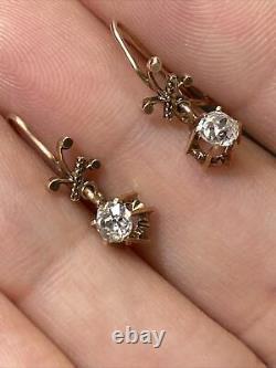 Jolie Et Délicate Antiquité. Boucles D'oreilles 80ct Old Mine Cut Diamond Yellow Gold