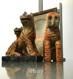 Jouets En Bois Indiens Vintage. Tigre Du Bengale. Patination Merveilleuse. Nouveau Vieux Stock