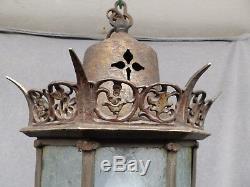 Laiton Antique Plafond Gothique Luminaire Iced Panneaux De Verre Old Vintage 462-16